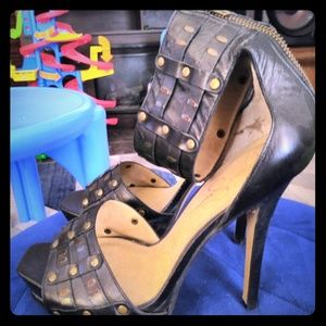 Women studded black leather Jessica Simpson heels
